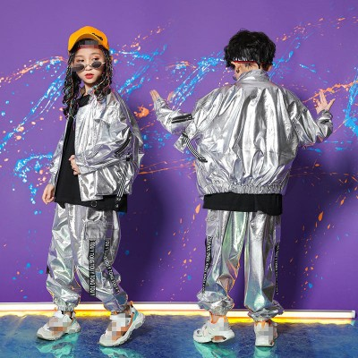 Girls boys silver street hiphop dance costumes modern dance silver gogo dancers model show performance jacket and pants