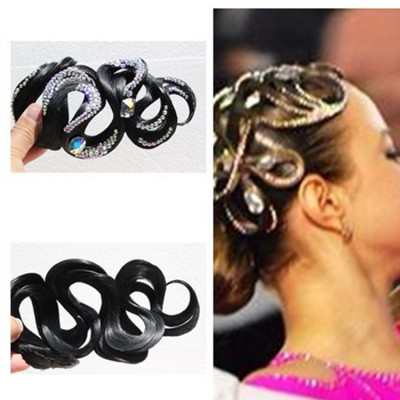 Girls children ballroom latin competition headdress wig hair accessories with rhinestones