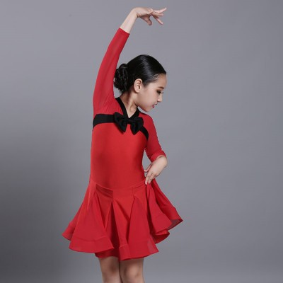 Girls children ballroom latin dance dresses rumba chacha samba salsa dancing clothes dresses