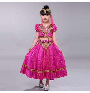 Girls children belly dance dresses red pink indian queen dance cosplay robes costumes