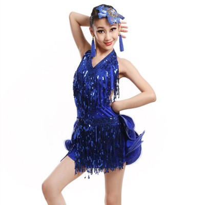 Girls children blue fringes latin dance dress kids modern dance stage performance rumba chacha latin dance skirts dress
