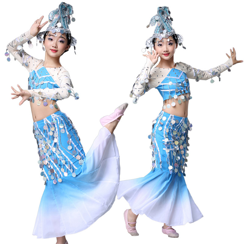Girls children chinese folk dance costumes blue sequins peacock dai minority stage performance mermaid dress belly dance dress