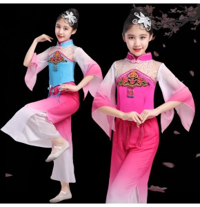 Girls children chinese folk dance dress kids ancient chinese dress yangko umbrella fan dance dresses fairy dress