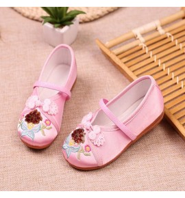 Girls children chinese folk dance embroidered soft soles clothing shoes fairy princess drama cosplay shoes