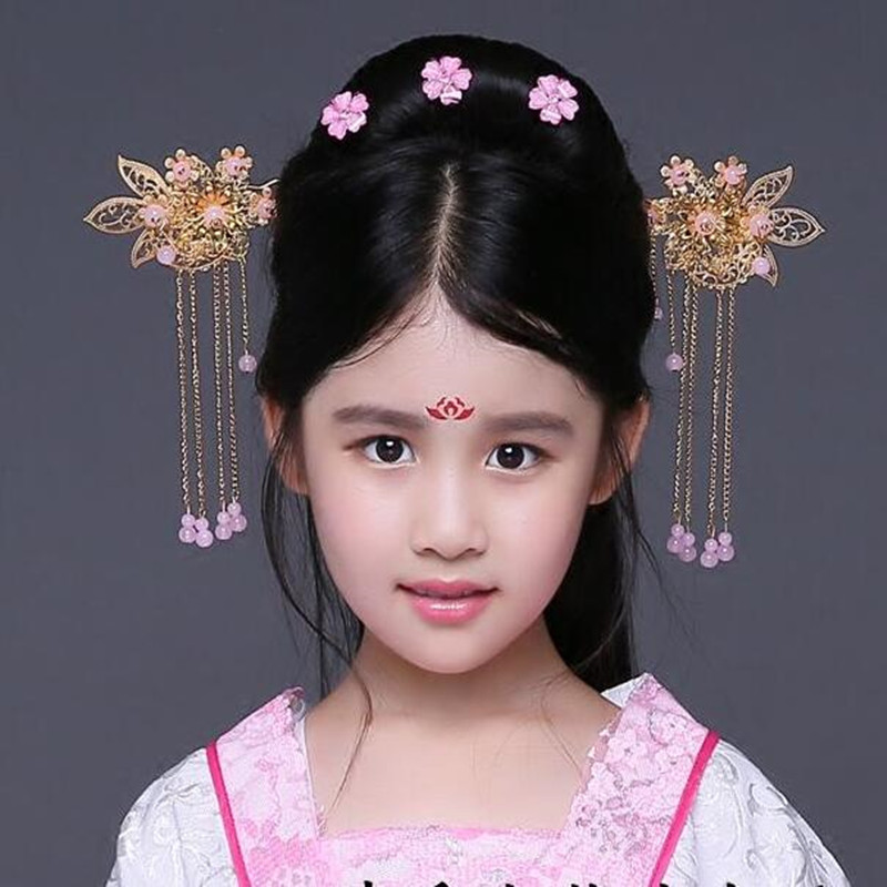 Girls children chinese folk dance hanfu hair accessories ancient fairy princess cosplay headdress hairpin