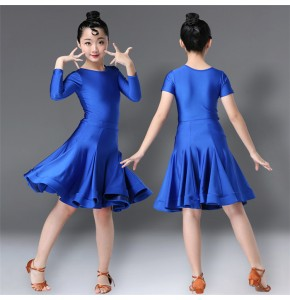 Girls children competition latin dance dresses school stage performance kids rumba salsa chacha dance dresses skirts