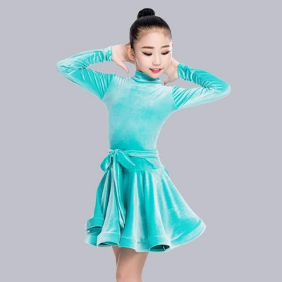 Girls children latin ballroom dresses velvet wine black competition stage performance professional rumba samba chacha dancing dresses costumes
