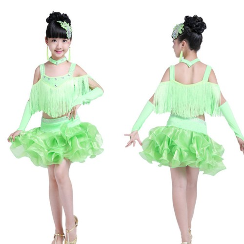 Girls children latin dance dresses green orange competition stage performance professional salsa chacha rumba dance skirts costumes