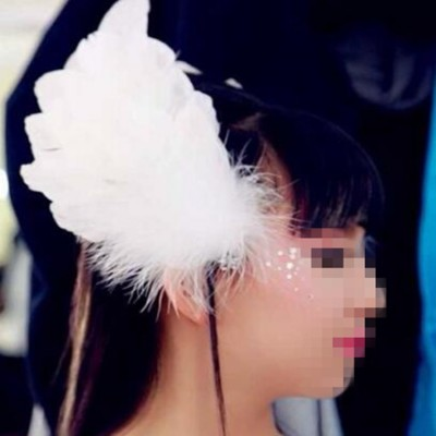 Girls children little swan lake feather headdress competition stage performance feather hair accessories  hair clip one pair