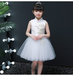 Girls children princess dresses jazz singers flower girls chorus dress stage performance modern dance ballet dresses