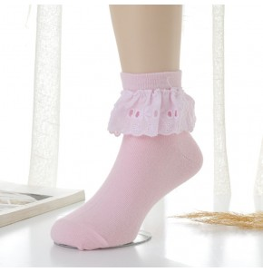 Girls children princess modern dance latin ballet ballroom dance lace socks 4 pairs