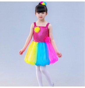 Girls children rainbow colored jazz modern dance princess dresses chorus singers school competition stage performance video cosplay costumes
