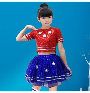 Girls children red with blue sequin jazz dance costumes hiphop street dance outfits cheerleaders stage performance costumes