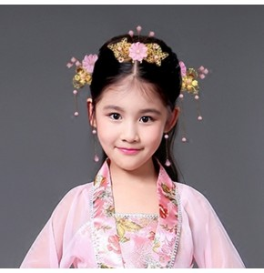 Girls chinese ancient folk dance hair accessories headdress hairpin fairy princess party stage performance drama cosplay photos hair clip