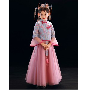 Girls chinese dress qipao dress singers stage performance drama guzheng performance model show performance dresses
