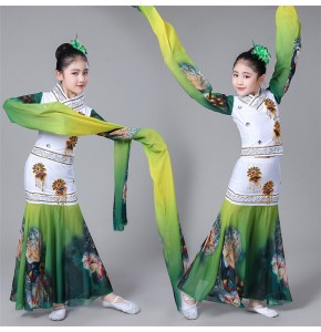 Girls Chinese folk ancient traditional fairy costumes kids water sleeves dress yangko fan umbrella photos cosplay dress
