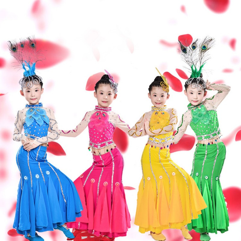 Girls chinese folk dance costumes ancient traditional belly peacock stage performance competition dresses