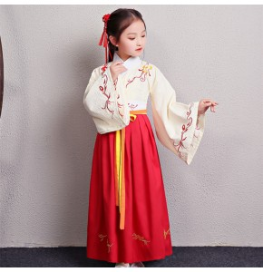 Girls chinese folk dance costumes ancient traditional performance drama cosplay priness hanfu cotton linen material robes dress