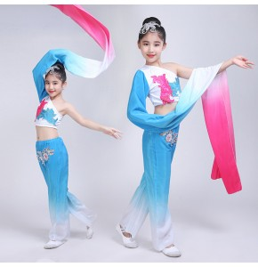 Girls chinese folk dance costumes blue green gradient colored hanfu water sleeves  traditional classical fairy cosplay dance dresses