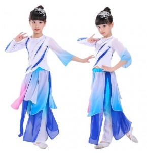 Girls chinese folk dance costumes fairy umbrella yangko traditional classical dance dresses costumes