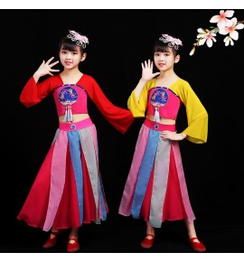 Girls chinese folk dance costumes fan umbrella dance dress fairy hanfu princess dress anime drama cosplay dresses