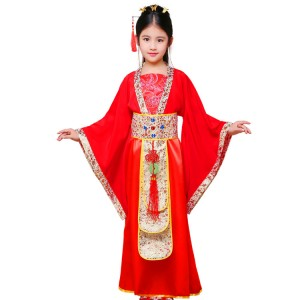Girls chinese folk dance costumes for kids children fairy princess drama chinese tang dynasty princess cosplay robes dresses kimonos