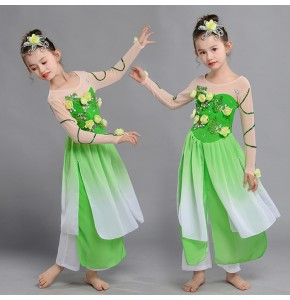 Girls Chinese folk dance costumes green flowers ancient traditional yangko fairy umbrella fan dance dresses