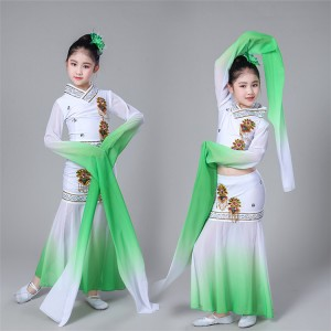 Girls chinese folk dance costumes green gradient hanfu water sleeves ancient traditional yangko fairy cosplay dress costumes