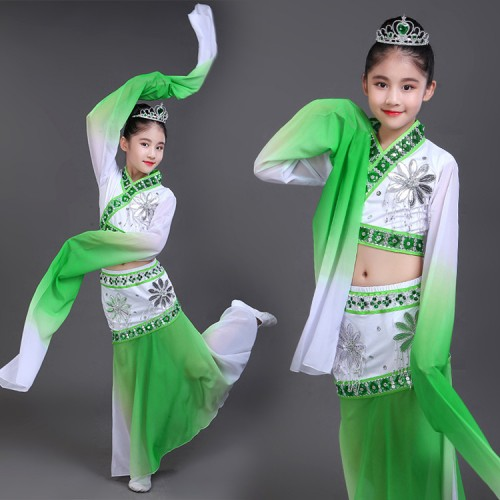 Girls chinese folk dance costumes green pink children ancient traditional fairy water sleeves hanfu drama photos yangko fan dance dresses