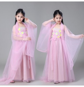 Girls Chinese folk dance costumes hanfu ancient classical traditional dance dresses fairy princess stage performance anime drama cosplay robes