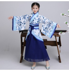 Girls Chinese folk dance costumes hanfu for kids children stage performance competition traditional drama fairy cosplay robes dress