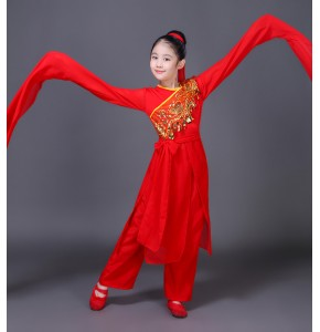 Girls chinese folk dance costumes kids red water sleeves umbrella fan dance ancient traditional classical dance fairy stage performance dresses
