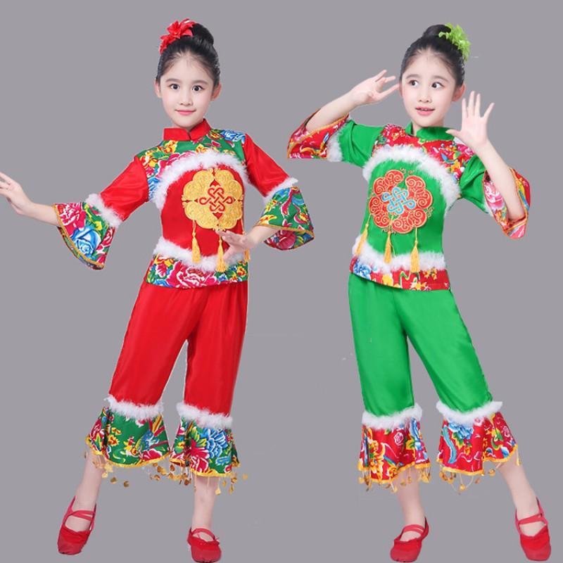 eba435644 Girls Chinese folk dance costumes kids yangge yangko fan dance ...