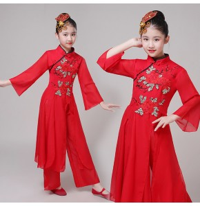 Girls chinese folk dance costumes red colored traditional hanfu ancient traditional yangko fan umbrella dance dresses