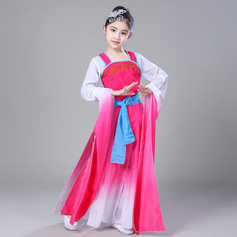 S Chinese Folk Dance Costumes Water Fall Sleeves Pink Blue Ancient Traditional Yangko Fairy Drama Cosplay