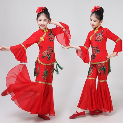 Girls chinese folk dance costumes yangko fan umbrella dance dress hanfu fairy ancient traditional classical dance costumes