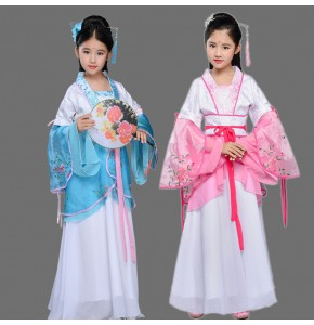 Girls Chinese folk dance dresses ancient traditional hanfu drama fairy anime photos cosplay stage performance robes costumes