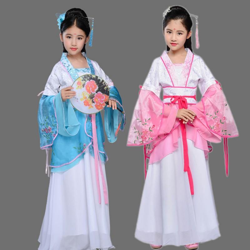 Girls Kid Chinese Traditional Hanfu Clothes Folk Performance Dance Dress Cosplay
