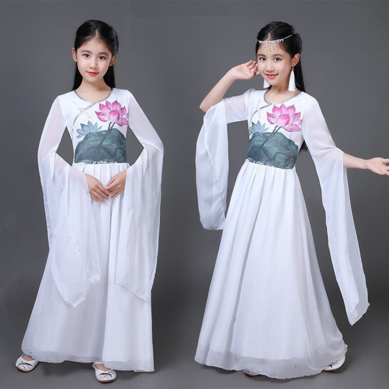 Girls Chinese folk dance dresses lotus white colored fairy cosplay ancient traditional yangko fan dance umbrella dance dress costumes