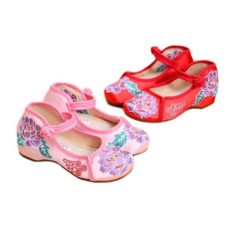Girls chinese folk dance embroidery shoes low heels ancient traditional  classical  dance stage performance  photos cosplay princess  shoes