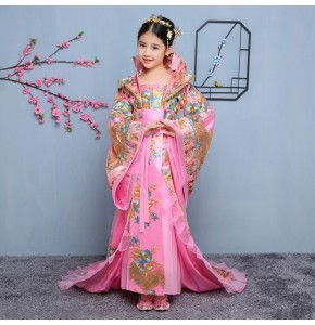 Girls Chinese folk fairy dance dresses costumes for kids children pink princess ancient traditional dance drama cosplay dresses robes