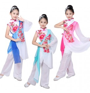 Girls Chinese folk Traditional Dance Costume for Stage Child National Folk Fan Dance Clothing Umbrella Oriental Dancer Wear Show