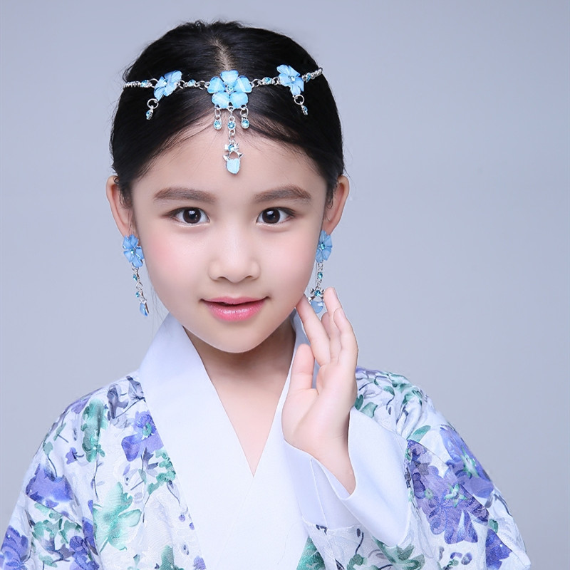 Girls Chinese hanfu fairy costume headdress children's classical stage performance jewelry princess fairy cosplay necklace chain earrings