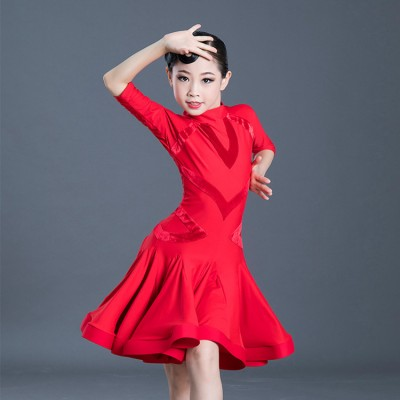 Girls  competition ballroom latin dance dresses stage performance salsa rumba samba dance dress skirts costumes