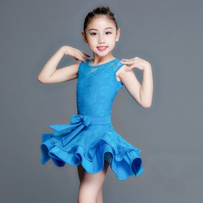 Girls competition lace latin dance dresses kids children sleeveless stage performance salsa rumba chacha dance skirts costumes dress
