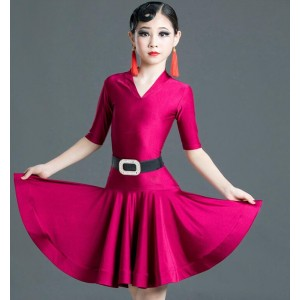 Girls competition latin dance dress wine royal blue black latin dress salsa chacha dance costumes for children