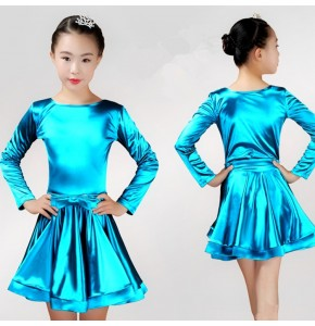 Girls competition latin dance dresses  long sleeves stretchable satin stage performance ballroom rumba chacha salsa dance skirts dresses