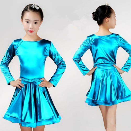 ... Girls competition latin dance dresses long sleeves stretchable satin  stage performance ballroom rumba chacha salsa dance ... 14a83c798c57