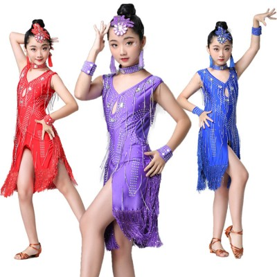 Girls competition latin dance dresses rhinestones fringes stage performance rumba chacha dance skirts costumes dress