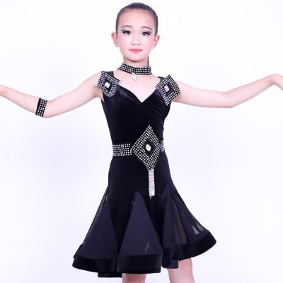 Girls competition latin dress for kids children black red diamond velvet ballroom salsa rumba chacha dancing costumes dresses